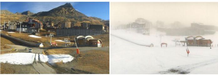 Val Thorens voor en na de sneeuwval.