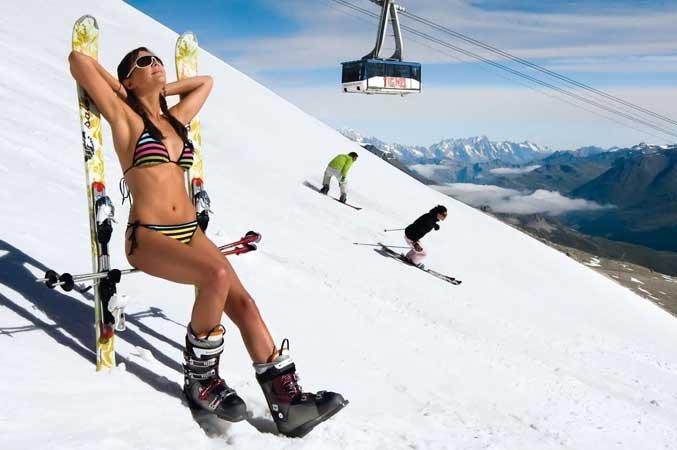 skiën in de voorjaarsvakantie, zomerskiën op de gletsjer