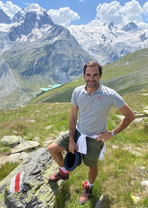 RF hiking Swiss Alps; Copyright Roger Federer